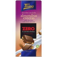 Tirma - Chocolate con Leche Almendras enteras Zero sin Azucares Nussschokolade ohne Zucker 125g hergestellt auf Gran Canaria - LAGERWARE