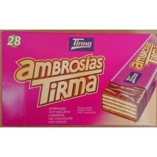 Tirma - Ambrosias Tradicional Chocolate Waffelriegel mit Schokoladenüberzug 28 Stück 602g hergestellt auf Gran Canaria - LAGERWARE