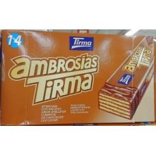 Tirma - Ambrosias Avellana Schoko-Waffelriegel mit Haselnuss 14x 21,5g hergestellt auf Gran Canaria - LAGERWARE